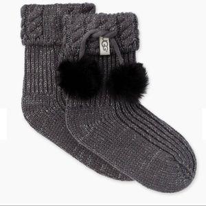 UGG rainboot socks w/ pom poms
